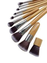 купить 10 PCS Professional Cosmetic Brush Set Bamboo Handle Synthetic Makeup Brushes Kit Make Up Brush Set Tools MH88 дешево