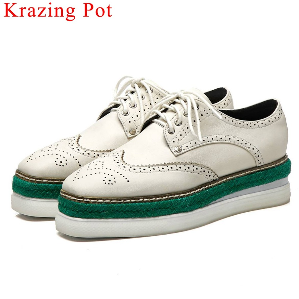 Krazing Pot handmade cow leather thick bottom waterproof lace up original design beathable carving mixed colors daily shoes L9fyKrazing Pot handmade cow leather thick bottom waterproof lace up original design beathable carving mixed colors daily shoes L9fy