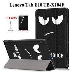 Kolorowe PU skórzane etui na lenovo Tab E10 E 10X104 TB-X104F 10.1 cal Funda inteligentne etui na lenovo Tab E10 case + film + długopis