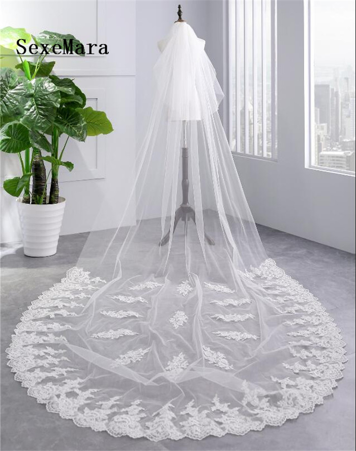 3.5 Meter White Ivory Cathedral Wedding Veils Long Lace Edge Bridal Veil With Comb Wedding Accessories Bride Velo Veil