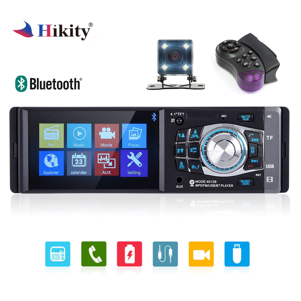 Hikity 4012B 4.1 inch 1 Din Car Radio Auto Audio Car Stereo FM Bluetooth Support Rear View Camera Steering Wheel Remote Control