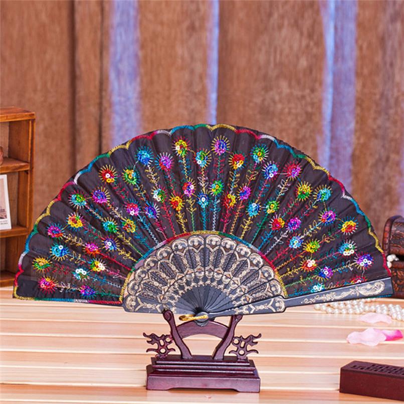 1PC Hand Fans Folding Peacock Pattern Embroidered Sequin Hand Held Chinese Fan Wedding Favors and Gifts abanicos de mano J14#3 (19)