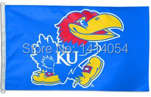 Kansas Jayhawks Bandiera 150X90 CM NCAA 3X5FT Banner 100D Poliestere passacavi custom009, spedizione gratuita