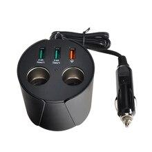 USB Автомобильное Зарядное устройство Quick Charge 3.0 салона автомобиля чашки телефон Зарядное устройство Адаптеры питания 3 Порты USB двойной розетки Авто-прикуриватели для GPS