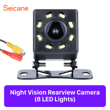Seicane Black HD Car Rearview Camera Reverse Parking Backup with 8 LED Display Plastic 648*488 pixels Monitor Kit CCD CMOS
