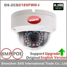 Free shipping English version Hikvision DS-2CD2185FWD-I 8MP Network mini dome security CCTV Camera POE 30m IR H.265+ IP camera