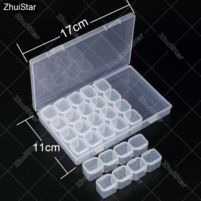 28 Slots Diamond Embroidery Box Diamond Painting Accessory Case Clear plastic Beads Display Storage Boxes Cross