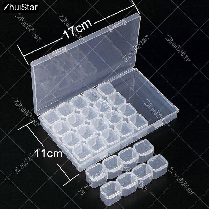 28 ranuras diamante Bordado caja diamante pintura accesorio caso plástico transparente Cuentas pantalla almacenamiento cajas Cruz Herramientas xsh