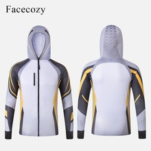 Facecozy Men Summer Fishing Jackets One Layer Hooded Thin Br
