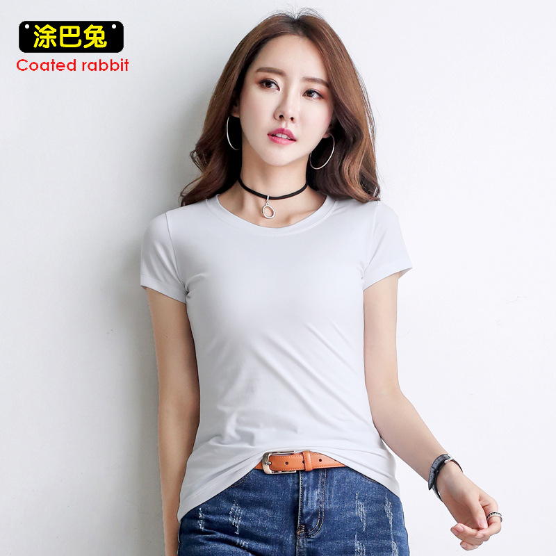 CR 2018 Plus Size Women T Shirt Summer Fashion Solid O-Neck Short Sleeve Casual Tops Tees Cotton Female T-Shirt