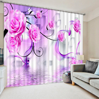 Decoration home curtains for living room bedroom 3D curtains custom purple rose curtains 3d photo curtains