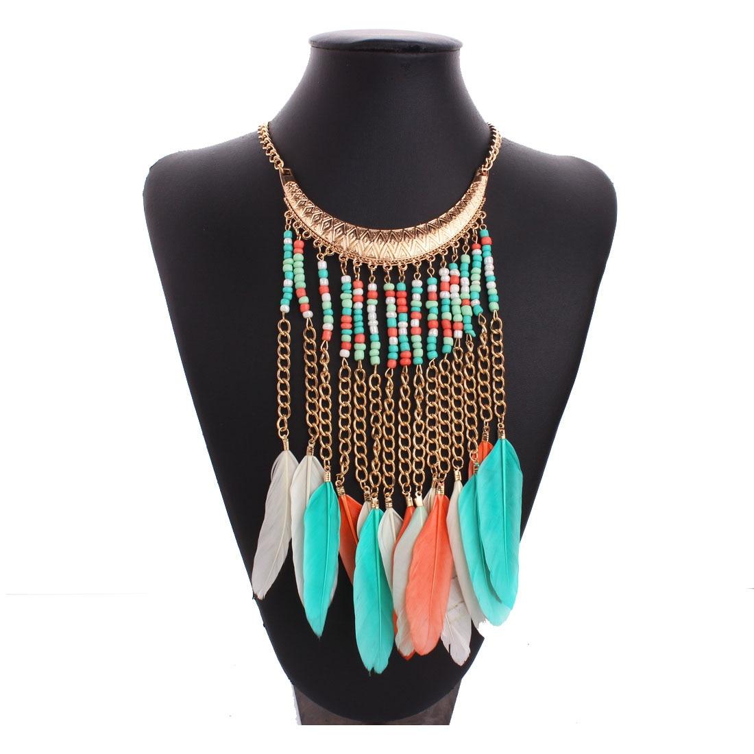 Zinc Alloy Beads Long Tassel Feather Necklace Choker Fashion Party Bohemian Necklaces Women Jewelry Collares De Plumas Colors