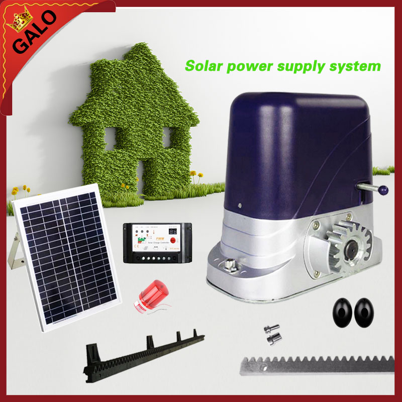 GALO Solar energy operation for 500kg loading Automatic sliding gate opener operator motor with gear racks factory price for the driving 300 kgs sliding gate opener villa automatic door machine con maquinas inteligentes abre la puert