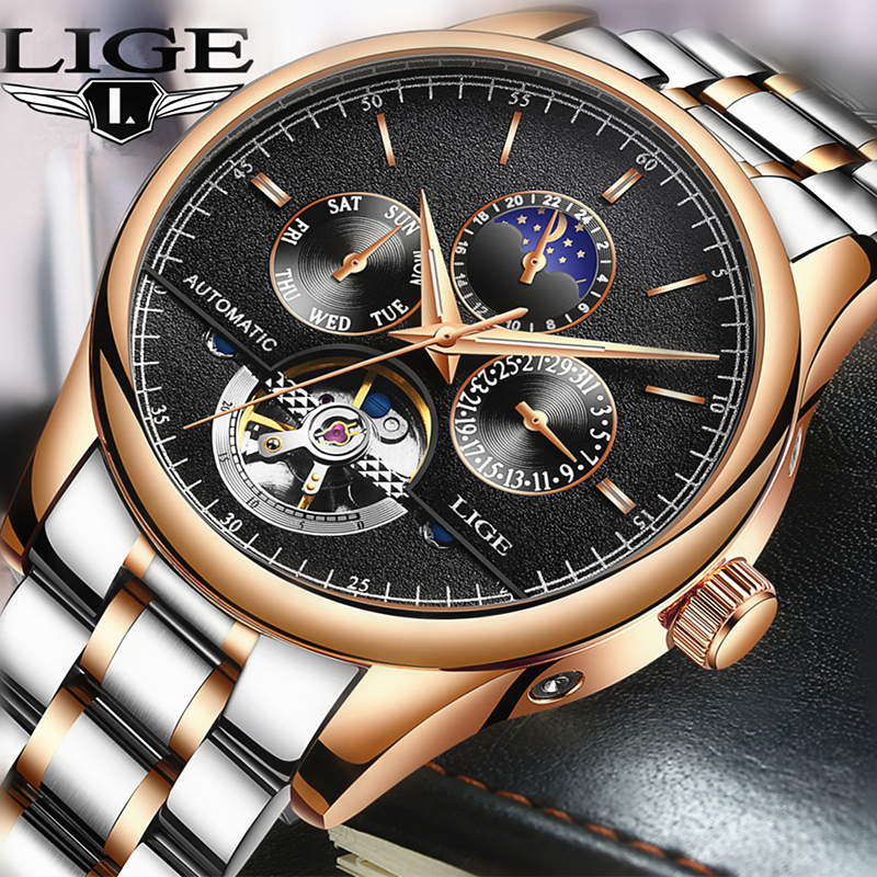 LIGE Brand Men watches Automatic mechanical watch tourbillon Sport clock leather Casual business wristwatch Man relojes hombre цена