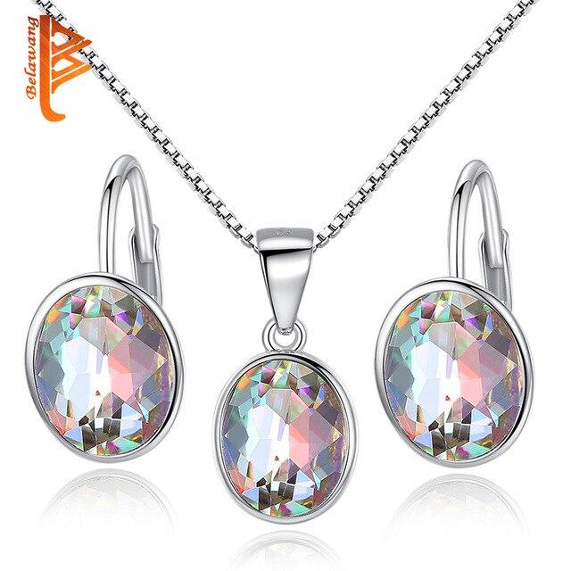 f879788b1 BELAWANG Vintage 925 Sterling Silver Jewelry Sets Sparkling Austrian Rhinestone  Hoop Earrings & Pendant Necklace Set Women Gift