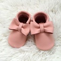 Pink Baby First Walkers, Genuine Leather Girl Bow Moccasins, Handmade Baby Girl Shoes