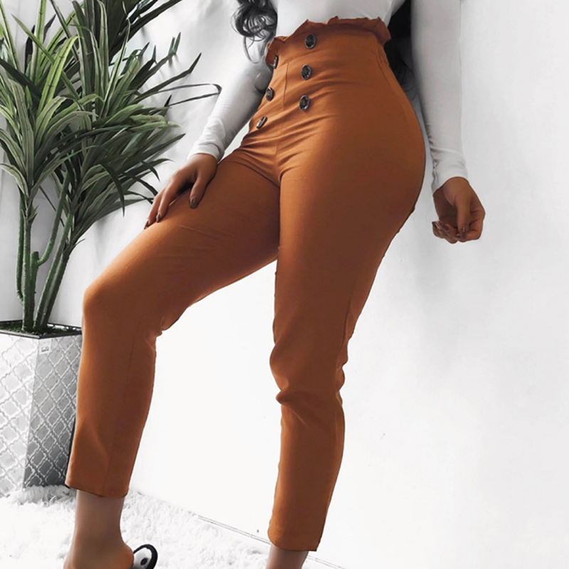 1pc 2019 Women's Latest Sexy Design Lace Button Hot Casual Pants High Quality Fashion Solid Color Slim Pants