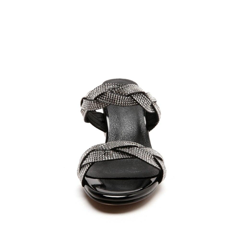 MEMUNIA 2020 duży rozmiar 33 43 nowy przyjeżdża kobiety sandały moda buty letnie eleganckie rhinestone 7.5cm buty na wysokim obcasie kobieta w Wysokie obcasy od Buty na  Grupa 3