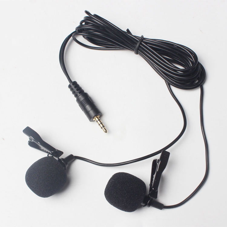 1.5m Long Universal Portable 3.5mm Mini Headset Microphone Double Lapel Lavalier Clip Microphone for Lecture Teaching Studio Mic