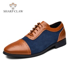 SHARCPCLAW Casual Men Leather Shoes Bullock Carving Mixed Colors Party Brogue Oxfords pointed toe Big Size