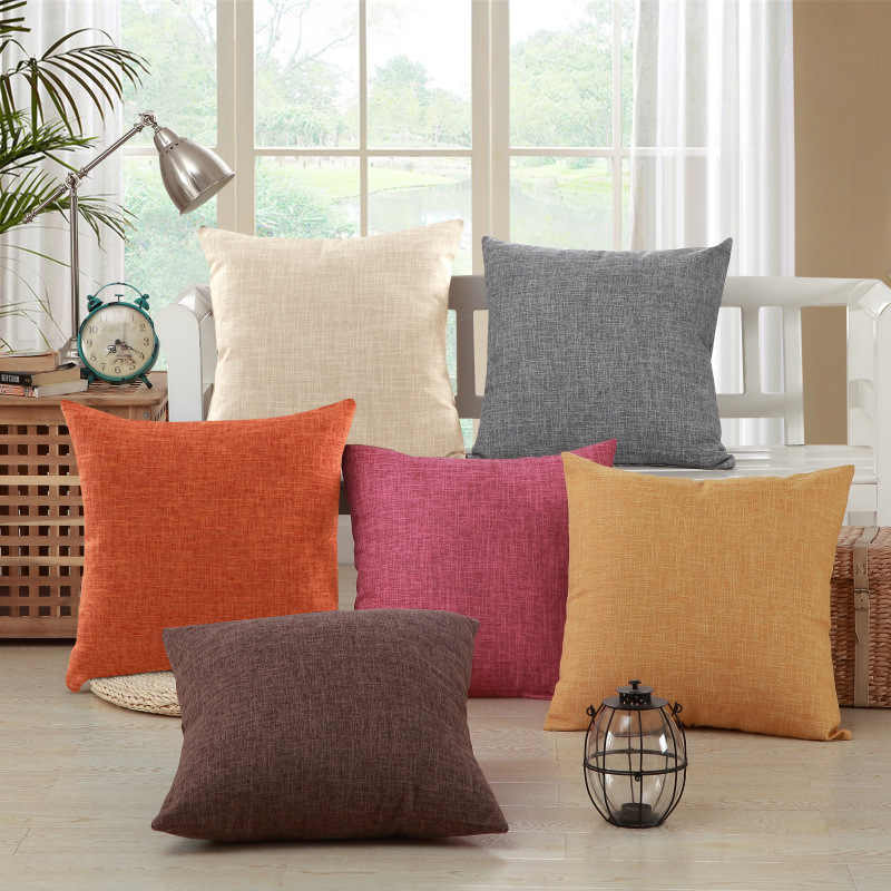 Solid Modern Linen/Cotton Sofa Bed Cushion Cover Throw Pillow Case Car Office Decorbox Home Decor Supplies (without core)