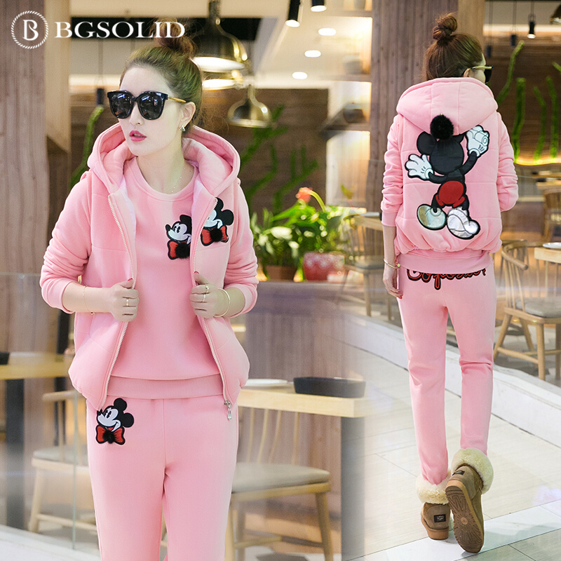 2018 thicker plus velvet sweater three sets of new female Mickey autumn and winter student fashion leisure