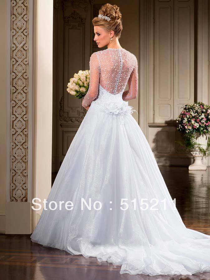Aliexpress.com : Buy Real Photo Beautiful Beading Long Sleeves See ...