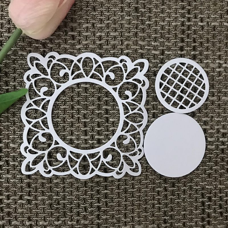 JC Metal Cutting Dies Scrapbooking Mesh Lace Circle Frame Background Stencil Album Embossing Folder Cards Maker Photo Template in Cutting Dies from Home Garden