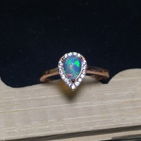 Fire Natural Australia Opal Stone Solid Silver 925 Thin Band Rings Women Princess Ring 100 925