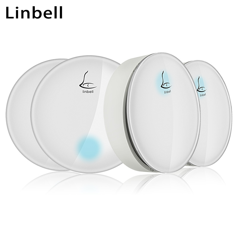 Linbell G3 wireless doorbell no battery waterproof beautiful doorbells desk bar reception bell EU/US/UK plug 2 button 2 receiver cacazi wireless cordless doorbell remote door bell chime one button and two receivers no need battery waterproof eu us uk plug