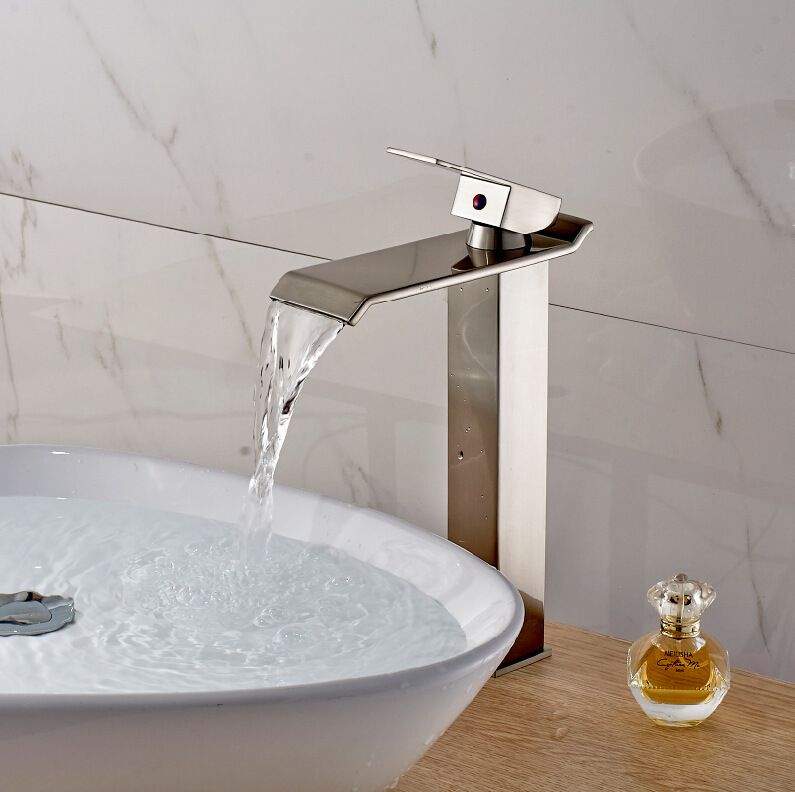 Nickel Brush Waterfall Bathroom Basin faucet bathroom single handle basin mixer tap hot and cold water deck mounted faucets free shipping basin crane bathroom led stream light water faucet deck mounted cold and hot water mixer handle water faucets