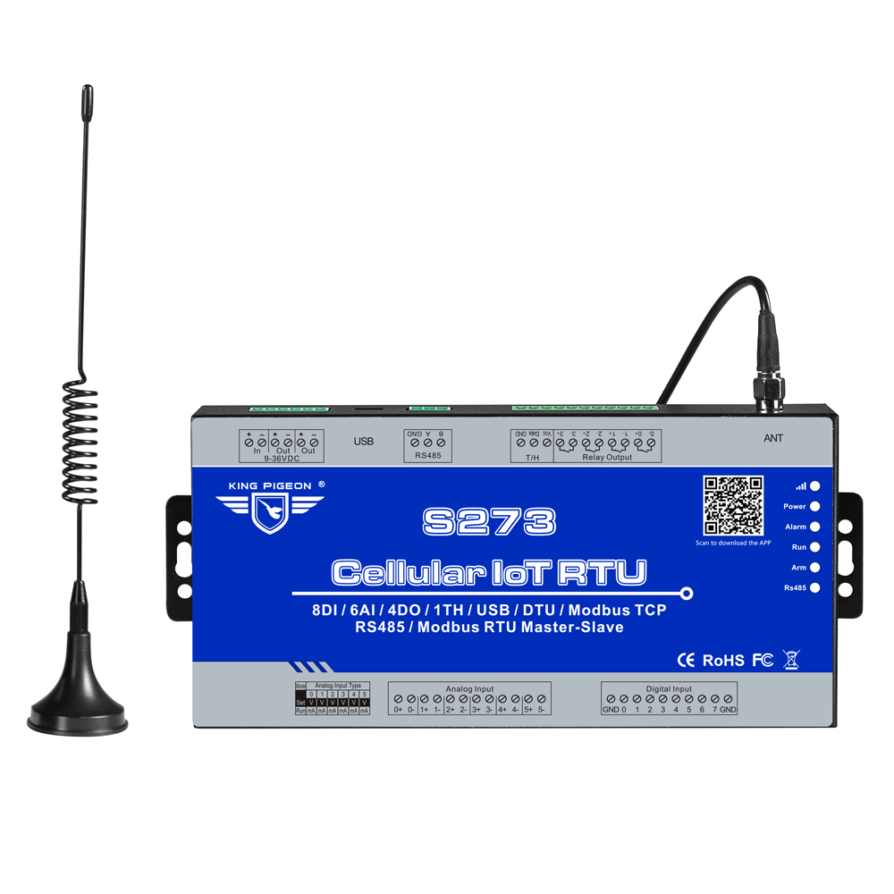 Industrielle IOT Passerelle 3g 4g Cellulaire IoT Modbus RTU Esclave/Maître 1 RS485 Soutient 80 JE/ O Tags SMS Contrôleur D'alarme S273