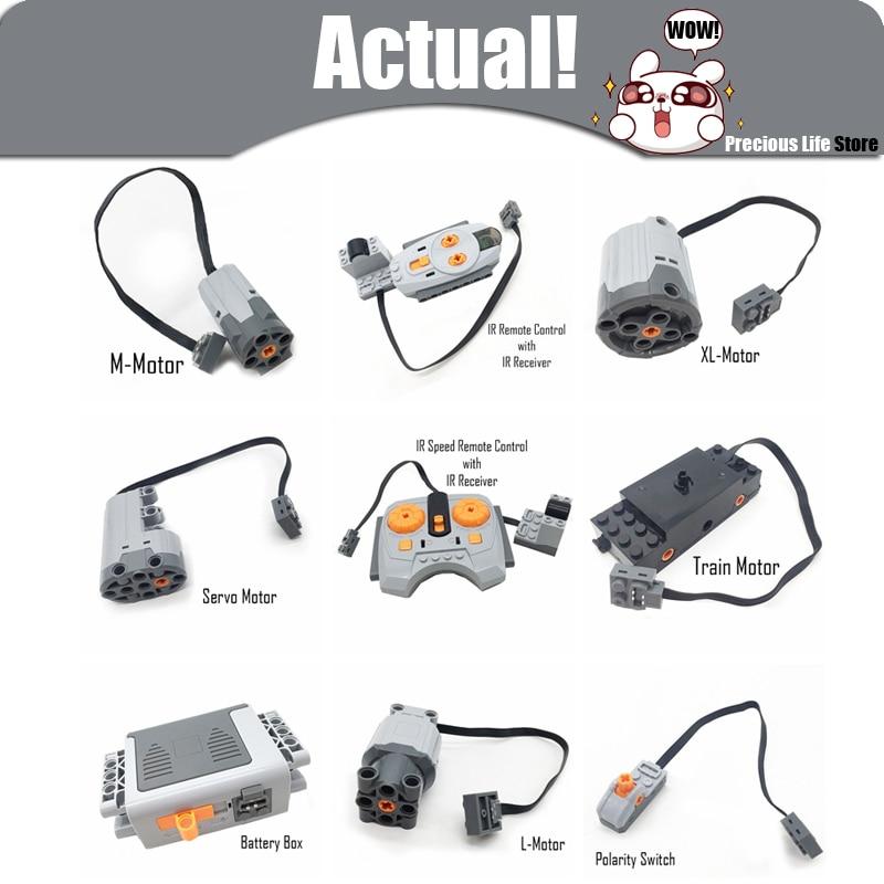 Poder técnico funciones Servo Motor interruptor de polaridad luz IR velocidad caja de batería del receptor legoingly técnica