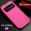 Smart Auto sleep function View Window Leather Flip Case For Samsung Galaxy S4 i9500 Battery Housing Cover Case