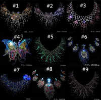 Lote de 6 unidades de diamantes de imitación con diseño de flores para Escote de moda, diseño de transferencia de calor con motivo de diamantes de imitación, adorno para el gar