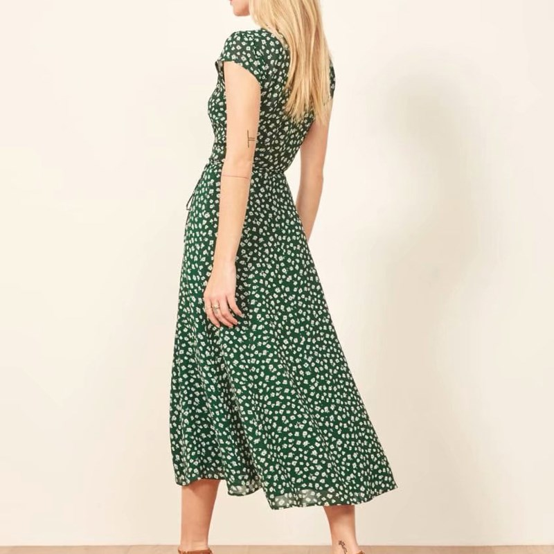 Casual Women V neck Split Dress Wrap Belt Floral Print Dress Summer Short Sleeve Lace Up Midi Dress in Dresses from Women 39 s Clothing