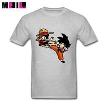 Dragon Ball Z Son Goku vs Luffy T shirts Custom Cotton Short Sleeve Valentine's Man T Shirts  Keep 3XL