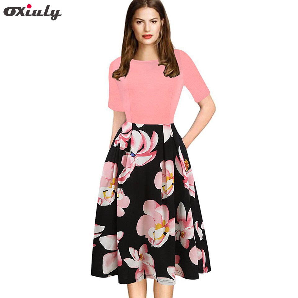 Oxiuly wanita Vintage Polka Dot Floral Print Patchwork Musim Panas - Pakaian Wanita - Foto 1