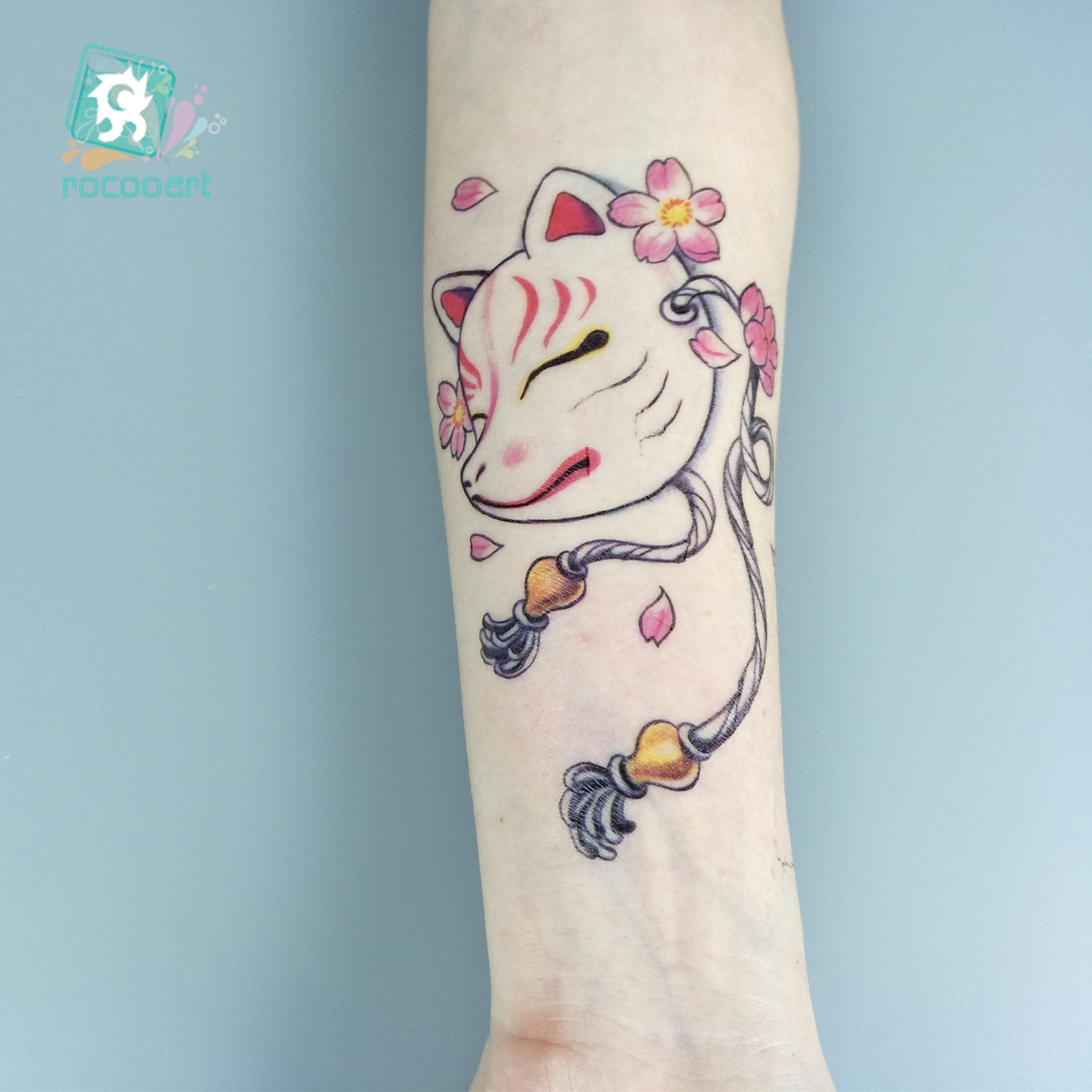 Rocooart SC-593 Japanese Style Cats Face Mask Design Temporary Body Art Fake Taty Mid Size Water Transfer Tattoo Sticker