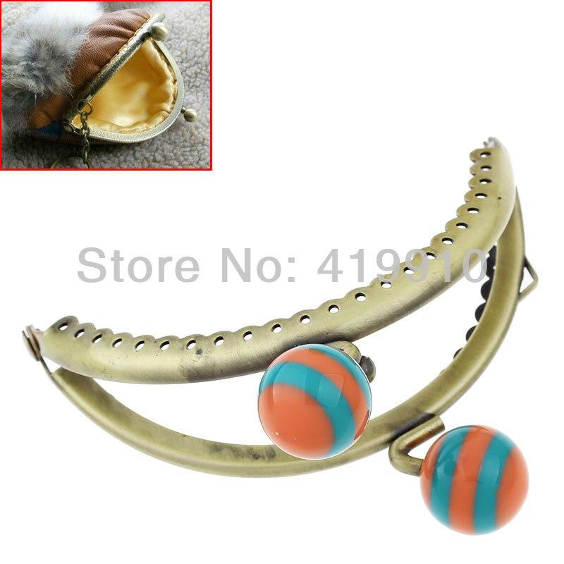 Free Shipping-3PC Metal Frame Kiss Clasp Arch For Purse Bag Lock Handle Antique Bronze Orange&Green Resin Ball 8.5 x 7cm,J2572