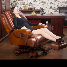 High quality leather home computer chair rotating luxurious office chair comfortable household leisure massage boss chair