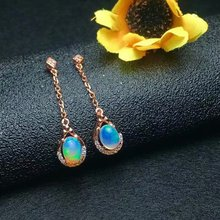 shilovem 925 sterling silver Natural opal Drop Earrings fine Jewelry Customizable women trendy wedding wholesale le050701ago v ya 925 sterling silver moon shape drop earrings elegant green opal stone earrings vintage women earrings female fine jewelry