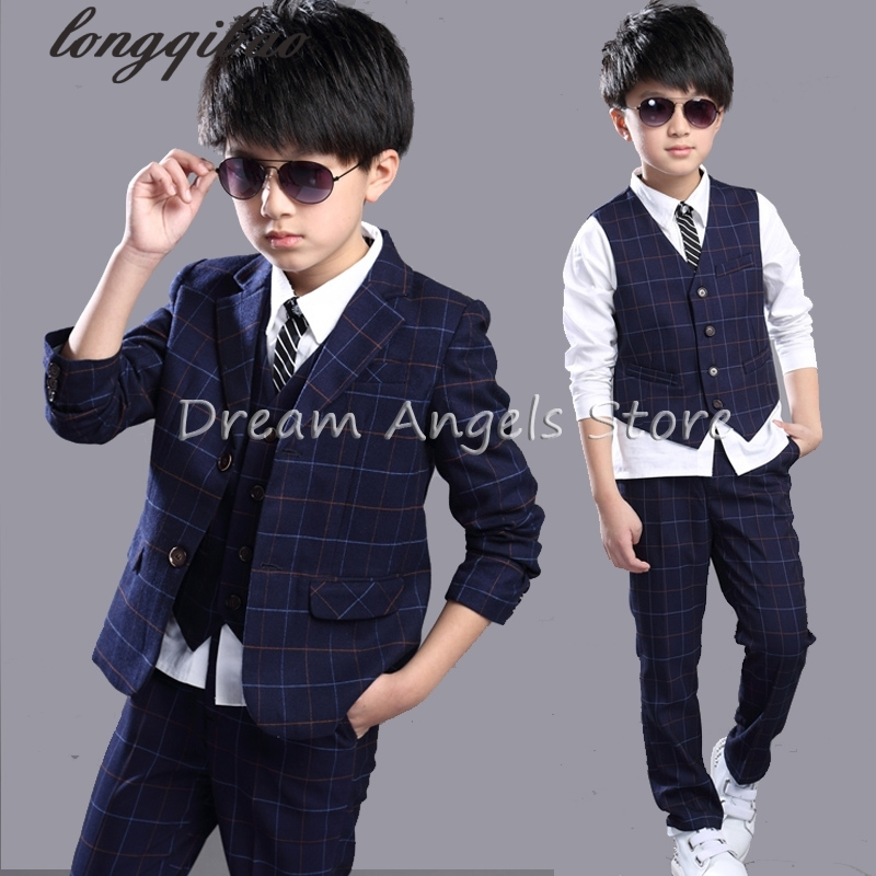 Boys Plaid of suits 2016 Korean version the new children's of Performing Costumes three-piece suits the new south korean manufacturers wholesale 2016 small fresh wave bikini three piece steel support gather swimsuit