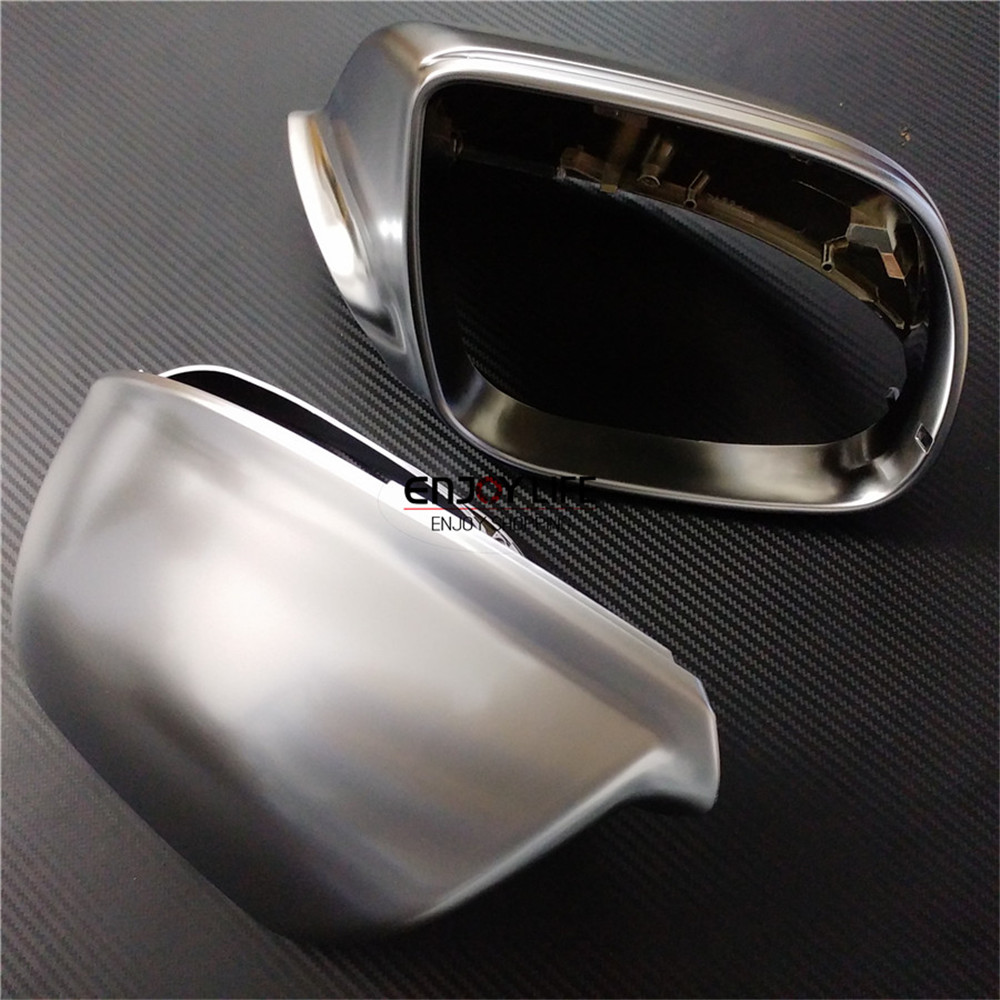 Matte Silver Replace ABS Chrome Side Wing Rear View Rearview Mirror Cover Case For Audi Q5 SQ5 8R & Q7 Facelift 2009-2015 q5 abs matt chrome car side rearview mirror replacement cover for audi q5 q7 2009 up with side lane assist
