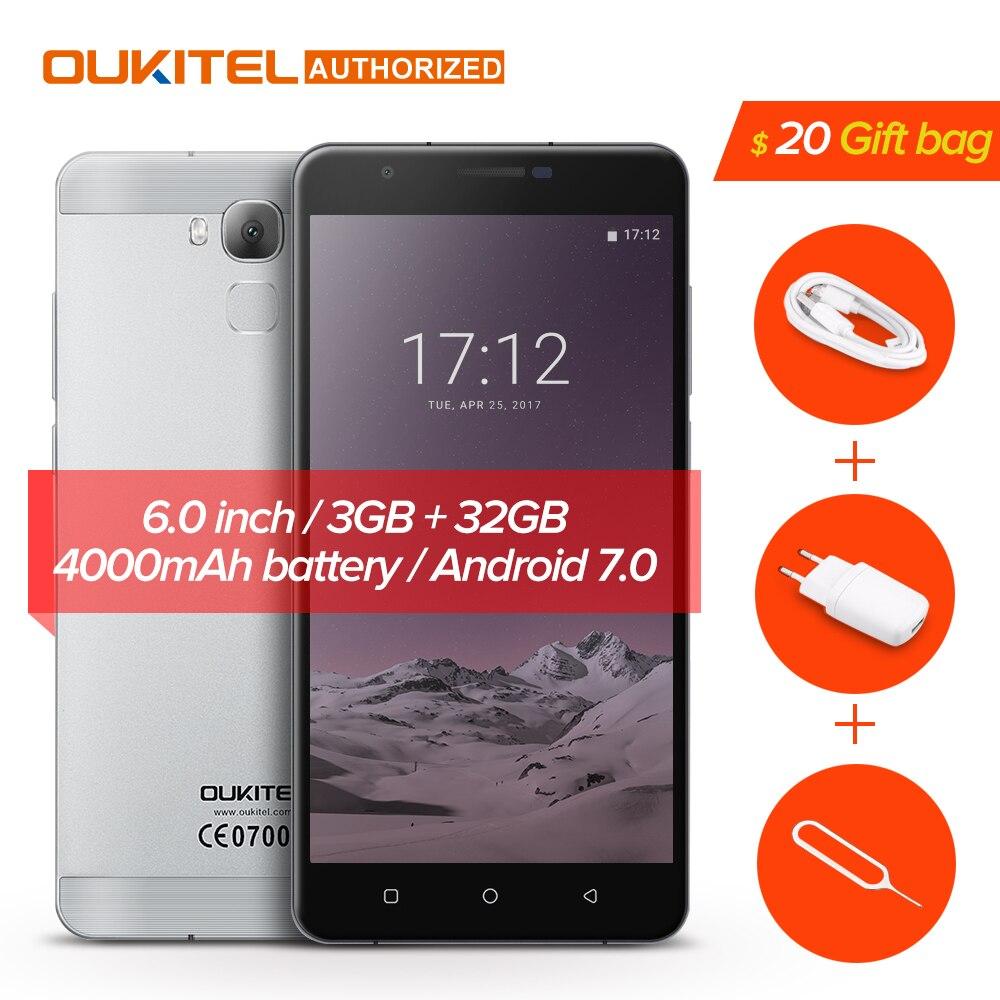 Oukitel U16 Max Смартфон Android 7,0 MTK6753 Восьмиядерный Встроенная память 32 г + Оперативная память 3g 6,0 дюймов отпечатков пальцев Touch ID 13.0MP 4000 мАч телефон...
