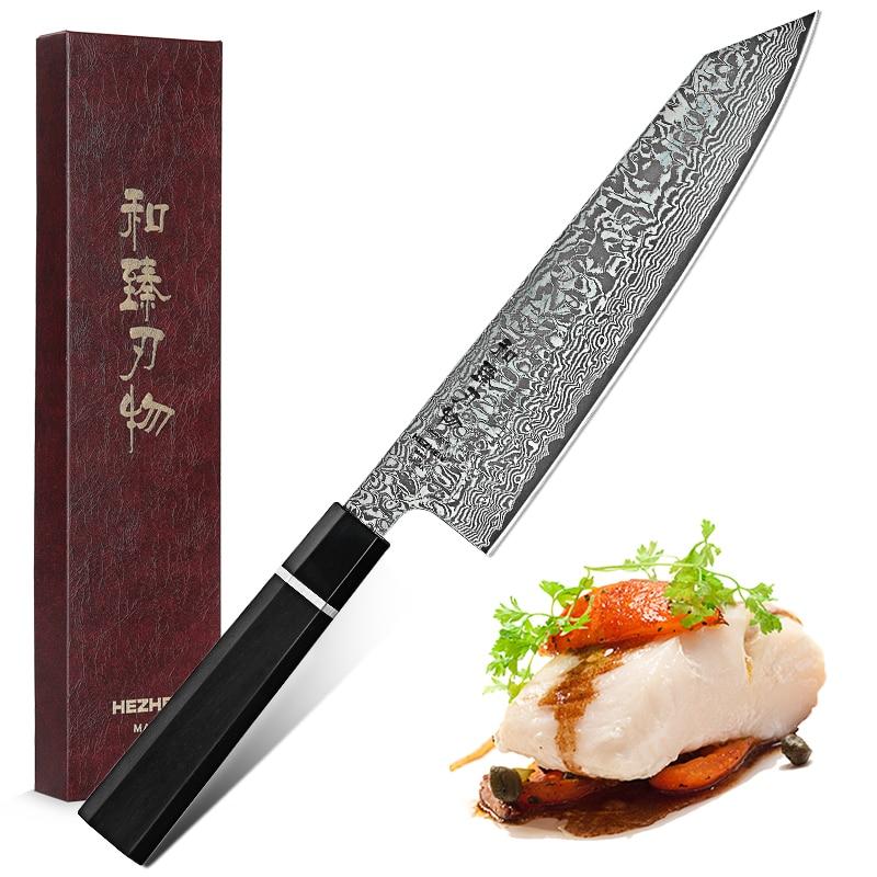 Image 5 - HEZHEN 8.5 Kiritsuke Chef Knife Japan VG10 Damascus Steel Kitchen Knives Nice Cover Cook Tools Ebony Wood+Buffalo Horn HandleKitchen Knives   -