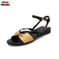 Korean Shoes Summer Jelly Sandals Flats Women Bowtie Sandal Large Size Ankle Buckle Peept Toe Low