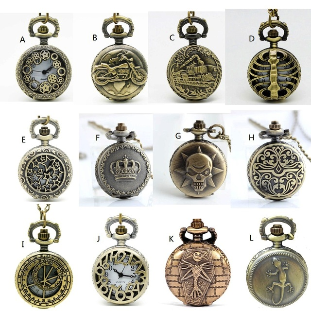 (APW022) Wholesale 12 designs Vintage Bronze Small mixed Pocket Watch Necklace,