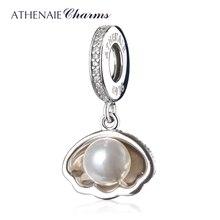 ATHENAIE 925 пробы серебряный корпус Ариэль белый жемчуг прозрачный CZ кулон бусины подходят для браслетов и браслетов DIY ювелирные изделия