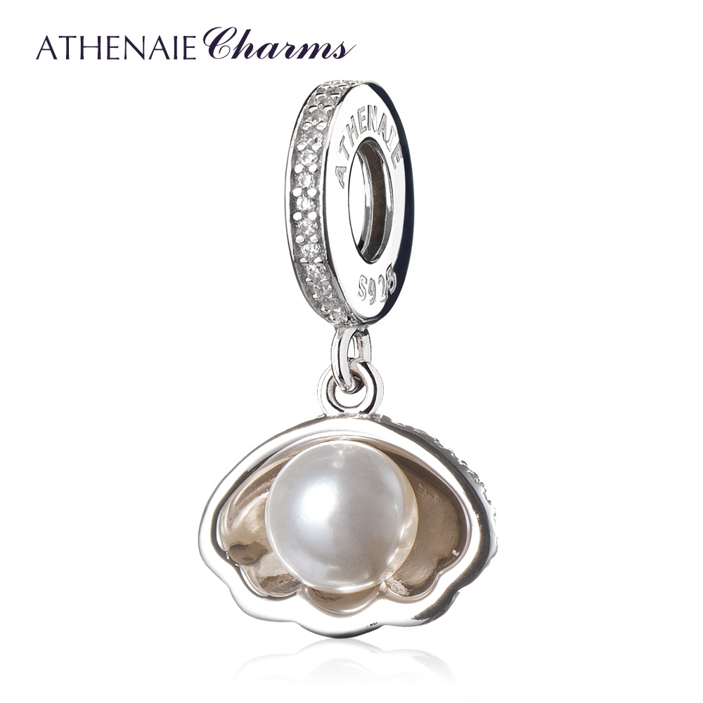 ATHENAIE 925 Sterling Silver Ariel's Shell White Pearl Clear CZ Pendant bead Charms Fit Bracelets and Bangles DIY Jewelry